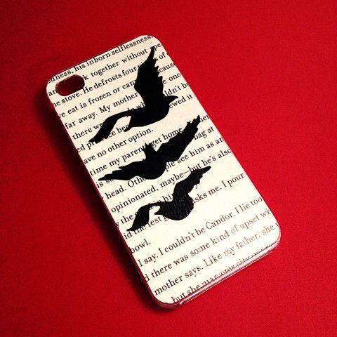 You can make yourself!  buy a clear iphone case with the 3ravens on it.  you probably dont wanna rip up divergent/insurgent/allegiant book so print off your fav page from one of the 3books.  cut out the bage in the shape and size of your phone  place inside the clear case  take pencil/pen and trace the camera hole  cut out the camera hole.  (optional) tape edges of the page to the case  walla!