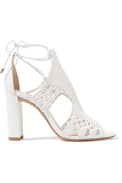 GABRIELLE'S AMAZING FANTASY CLOSET | Alexandre Birman White Woven Leather Sandal with Ankle Ties  Heel measures approximately 90mm/ 3.5 inches