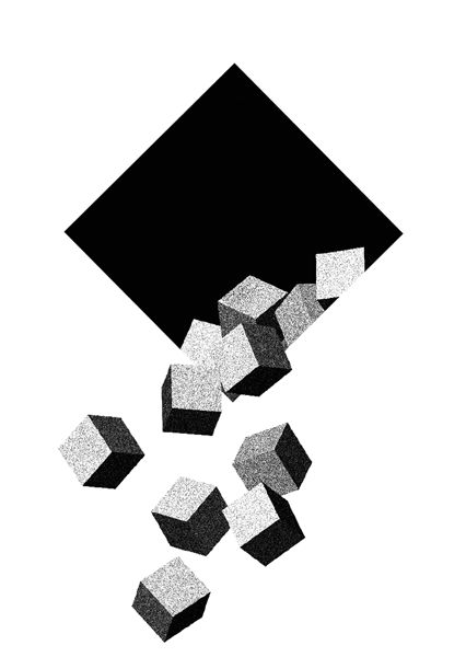 """Effet """"sortir de la peau"""", cube, niveau de gris"""