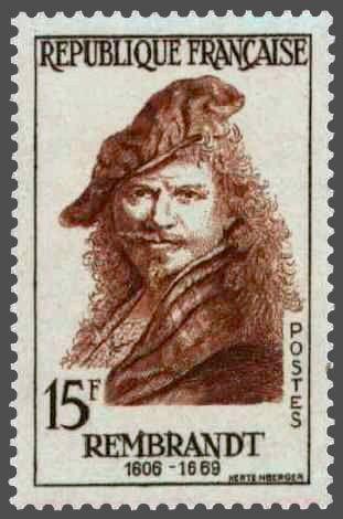 timbres de france/timbre france 1957 - 1135 - Autoportrait a l effigie de Rembrandt peintre neerlandais - Serie celebrites etrangeres.jpg