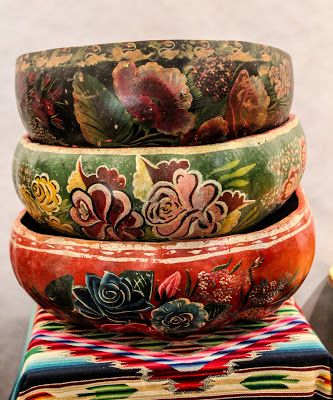 Vintage Mexican bowls and serape
