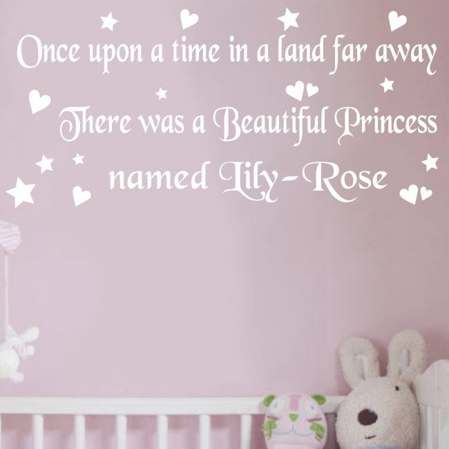 Personalised Once Upon A Time Quote,Wall Art Girls Bedroom Sticker