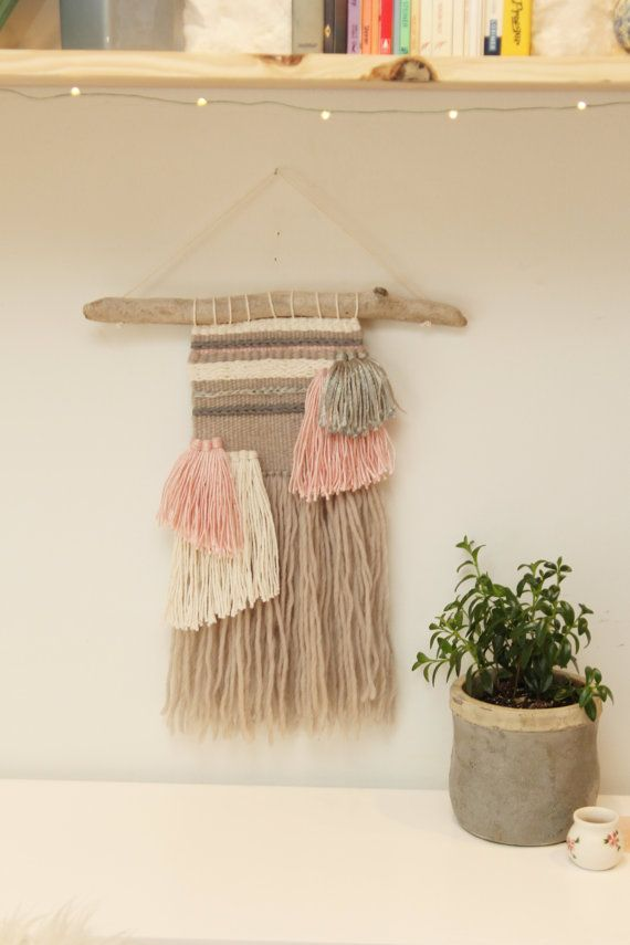 Woven Wall Hanging in soft pink grey white and by fallandFOUND