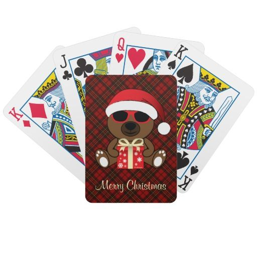 Cool Brown Santa Bear with sunglasses and Red gift #PlayingCards by #PLdesign #ChristmasTartan #CoolSantaBear #ChristmasGift #ChristmasPlayingCards