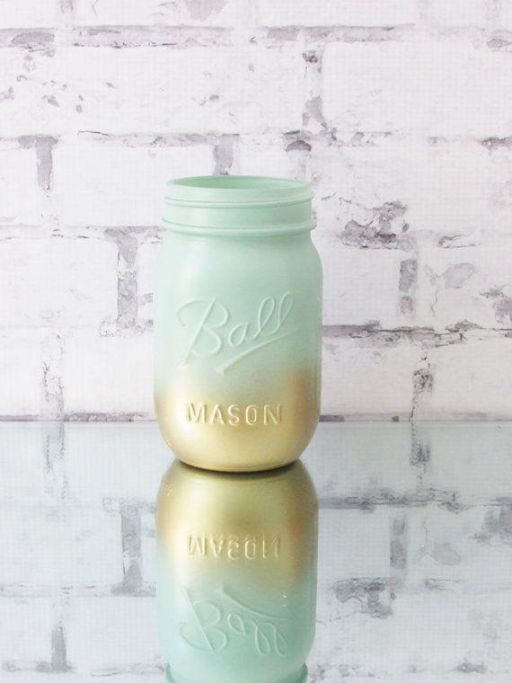 Ombre Jars  Mint Wedding Decor  Mint Mason Jar  Mint by LucyBirdy
