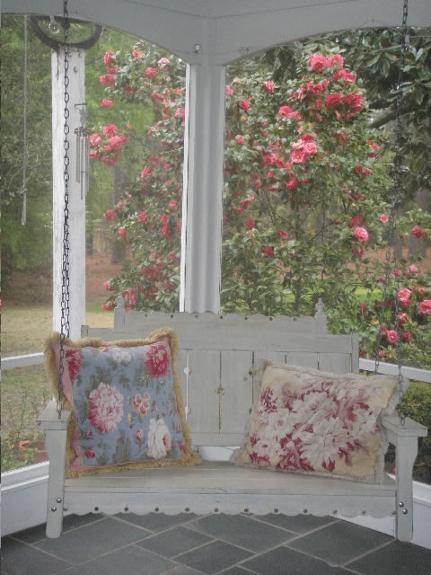 I love the look of this swing for Cottage Front Porch!! Any bench, cut off legs, and bolt to ceiling!  Enough room for the 2 (4) of us to watch the day go by!