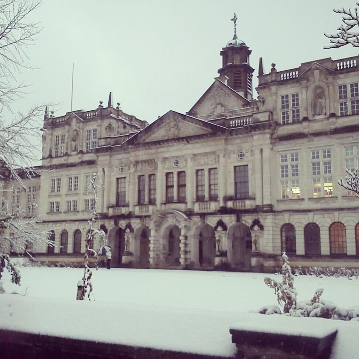 Cardiff University Main Building in the snow, with a stunning mix of different windows.