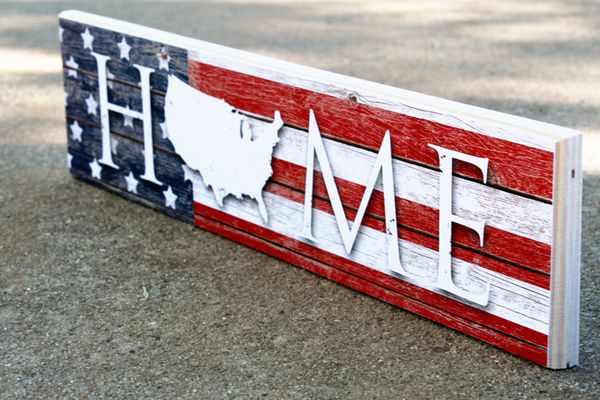 Patriotic Flag USA Home Sign