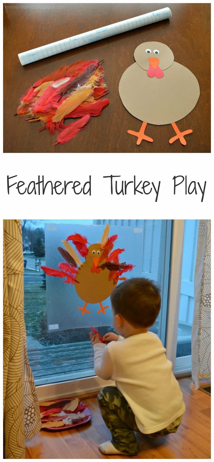 Minne-Mama: Feathered Turkey Play - Fun way to practice fine motor skills and great vertical play.
