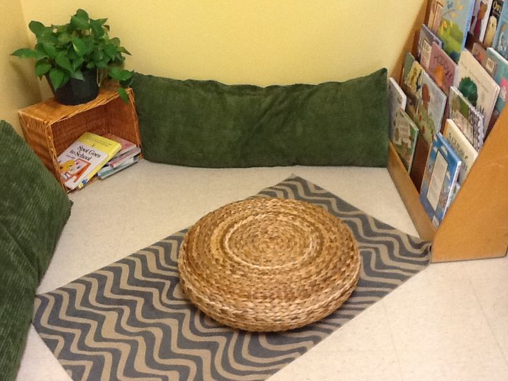 The children love the tuffet in the book nook!