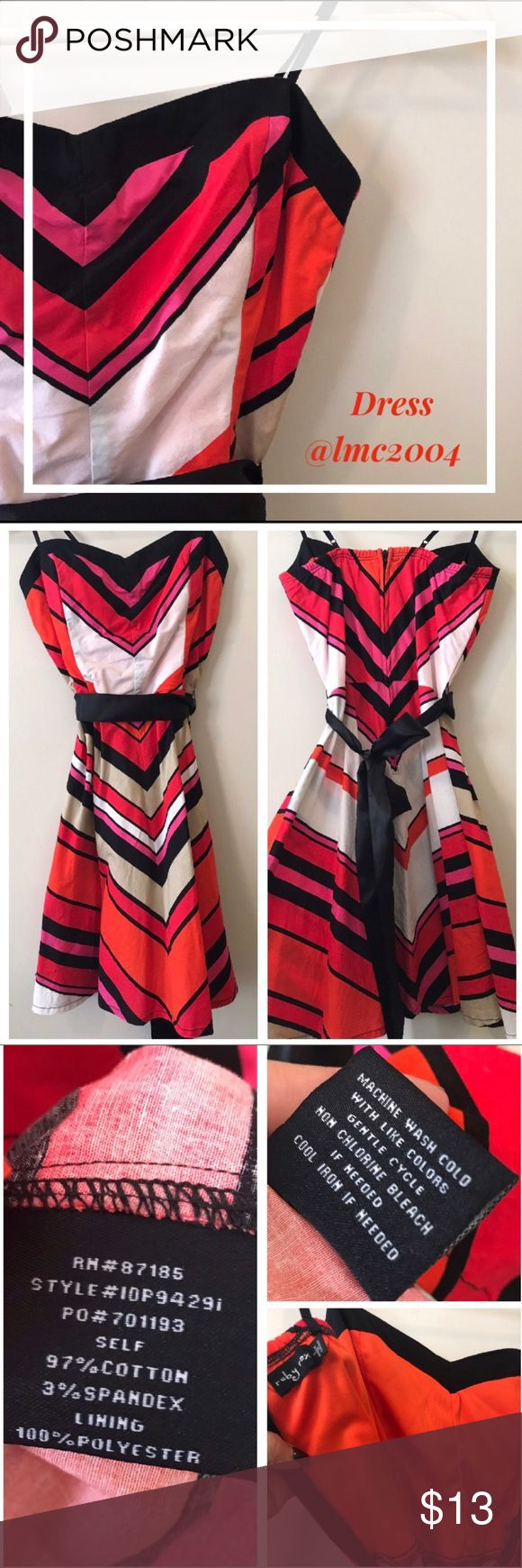 "Ruby rox Orange Striped Dress 🧡 Preloved in great conditions, no flaws. Zipper on the Back. Comes with black ribbon to adjust waist. It's lined In the Bust area. Sweetheart heart neckline. Adjustable straps. Fun colors, Orange, Red, Pink, white, black & tan. Approx 28""L Dresses Midi"
