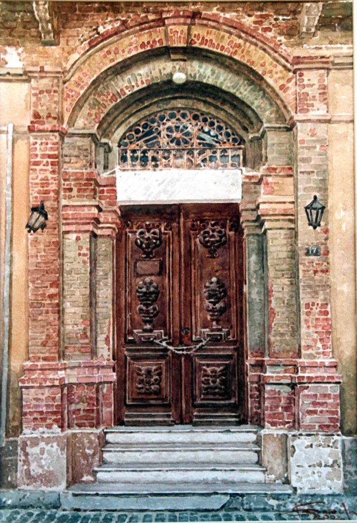 Dimitris Stathopoulos (b.1946) – The main entrance of Isaac Daniel's mansion, Eleftherios Venizelos Street, Xanthi – watercolor on paper