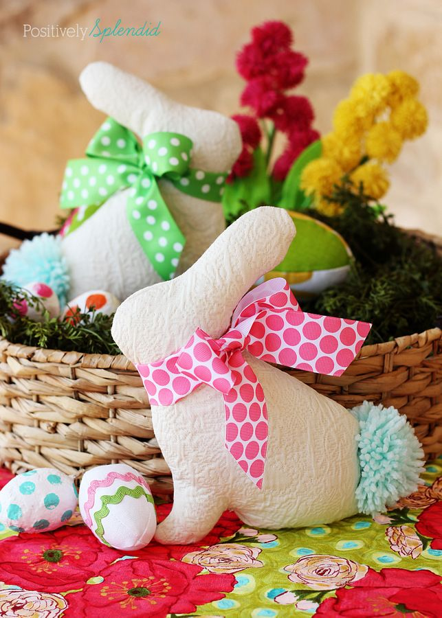 Adorable Easter bunny softie pattern and tutorial at Positively Splendid. So cute and easy to make!