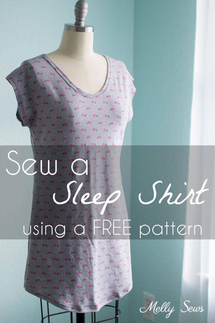 Sew a Sleep Shirt - With Free Pattern | Nähen || Schnittmuster Damen ...