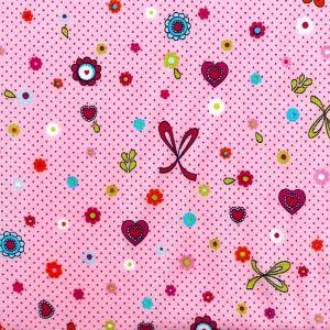 Rosa gepunkteter Druck mit Schleifen, Herzchen, Blumen
