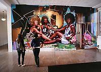 MICKALENE THOMAS  Le déjeuner sur l'herbe: Les Trois Femmes Noires, 2010  rhinestone, acrylic and enamel on panel  120 x 288 x 2 inches