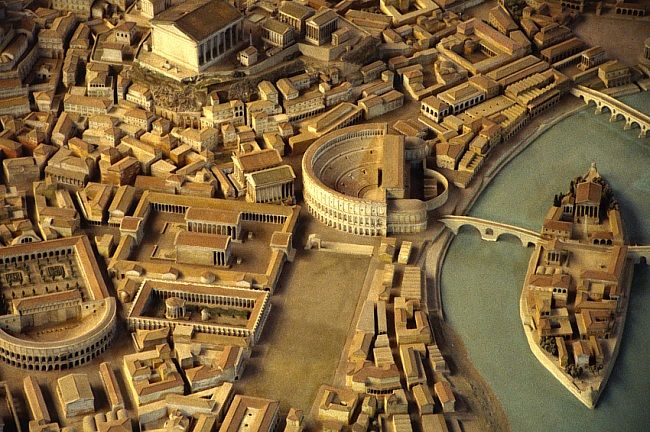 Reconstruction of Ancient Rome with the Theatre of Marcellus in the centre adjoining the 'isola tiberina' island in the Tiber river and the smaller Theatre of Balbus to the far left.