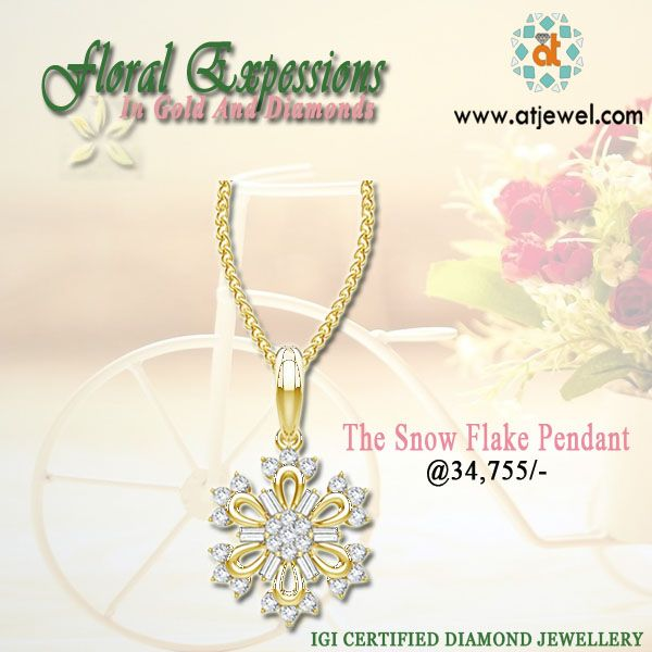 Design Of The Day...... Atjewel Presents #FloralExpressions In #Gold And #Diamonds.Snow Flake Diamond Pendant,Style With Floral Expressions.Shop Now. #Atjewel #Diamonds #Pendant #Gold #FloralCollection http://bit.ly/1YhlBTr