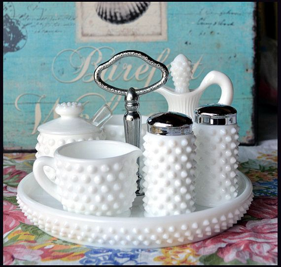 Fenton Milk Glass Hobnail Condiment Set / My Milk Glass Party Starter