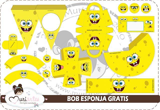 Kit de Bob Esponja para Imprimir Gratis.