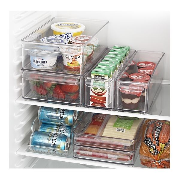 Crate and Barrel fridge organizers -- large deep fridge bin, small deep