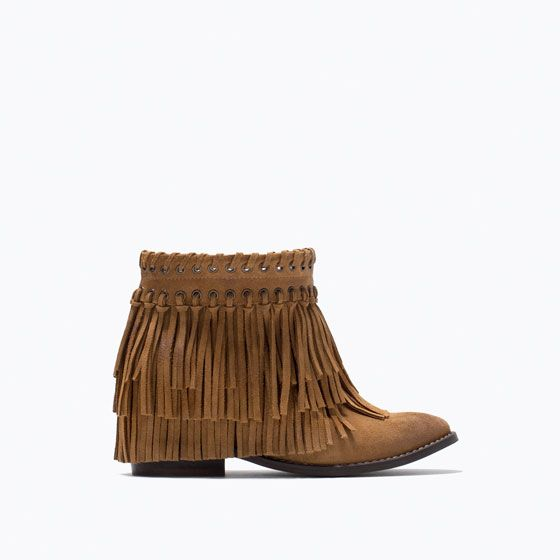 ZARA - NEW THIS WEEK - SUEDE FRINGED ANKLE BOOTS