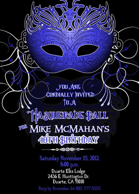 Masculine Masquerade Party Invitation for a Man