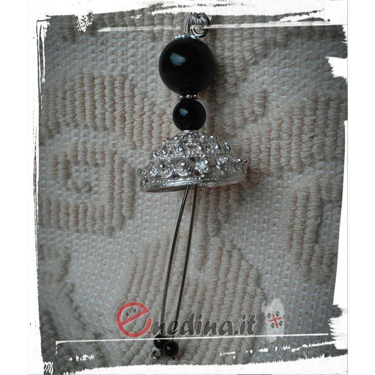 Gioiello in argento, onice nera e ossidiana. Sardegna Shop online www.enedina.it