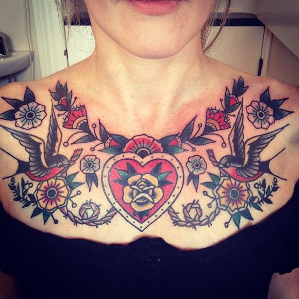 sealedwithaheart:  Rachie T /// love seeing a woman with traditional tattoo chest piece!