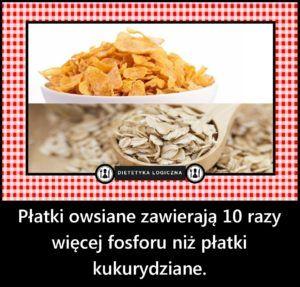 Płatki owsiane zawierają 10 razy więcej fosforu niż płatki kukurydziane.