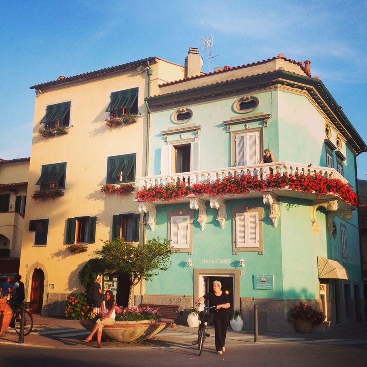 Tiffany blue building in Marciana Marina