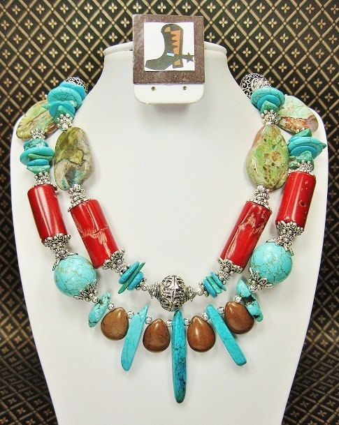 Turquoise / Coral / Agate Chunky Western by CayaCowgirlCreations, $55.50