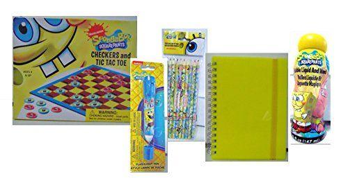 Nickelodeon SpongeBob SquarePants Childrens Activity Bundle (5 Piece) Travel Checkers and Tic Tac Toe Game, Mini Yellow Notebook, Bubbles, Flashlight Pen, Set of 10 Colored Pencils. SpongeBob SquarePants http://www.amazon.com/dp/B0147E2ZQ6/ref=cm_sw_r_pi_dp_Hn53vb00Z434Z