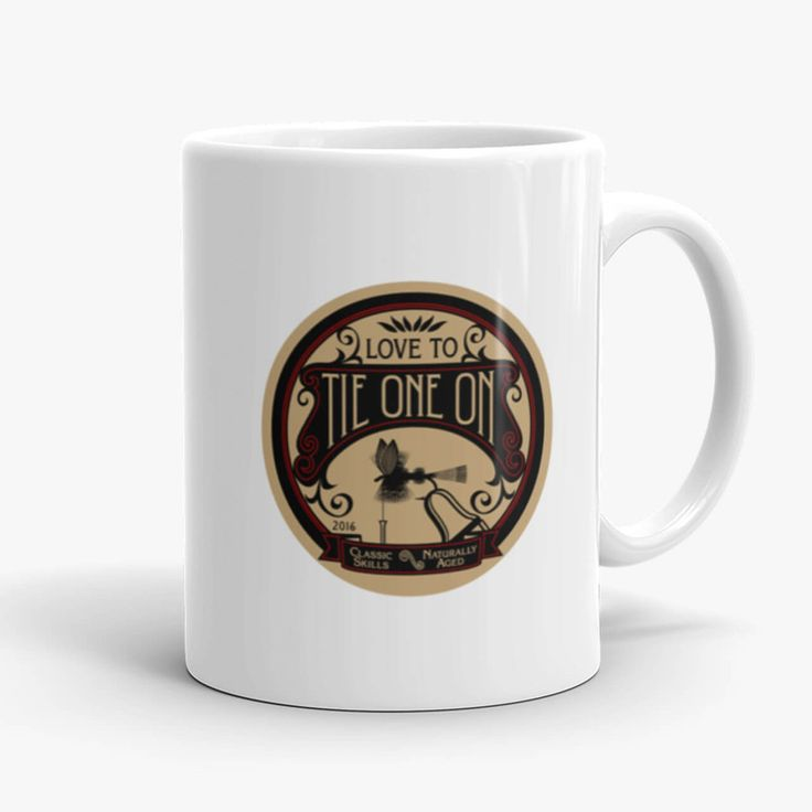 The fly tying drinking mug was inspired by the design of the vintage, decorative metal wall sign made by Montana Treasures in Bozeman, Montana. Tie One On Fly Tying mugs made by Montana treasures in Bozeman, Montana. Shop now!