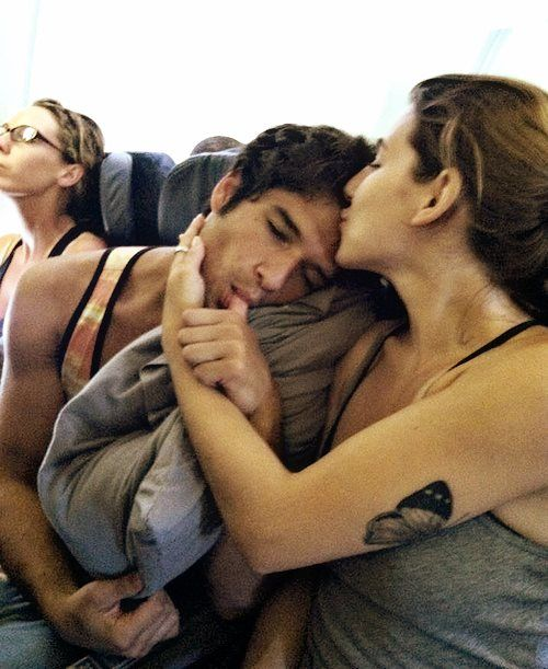 Tyler Posey being coddled by his fiance Seana Gorlick...
