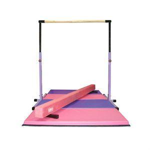 3 5 Purple Horizontal Bar 8ft Pink Balance Beam 8ft Gymnastics Folding Mat | eBay