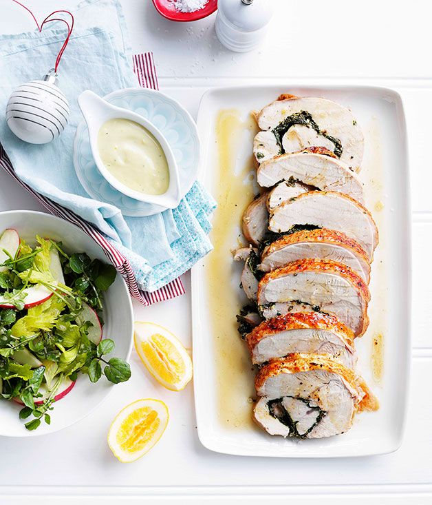 Australian Gourmet Traveller Christmas recipe for roast herbed turkey roll with Meyer lemon mayonnaise.