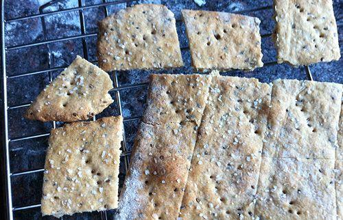 Whole wheat chia seed crackers. Recipe from http://www.cookforgood.com/recipe/homemade-garlic-chia-crackers.html#.