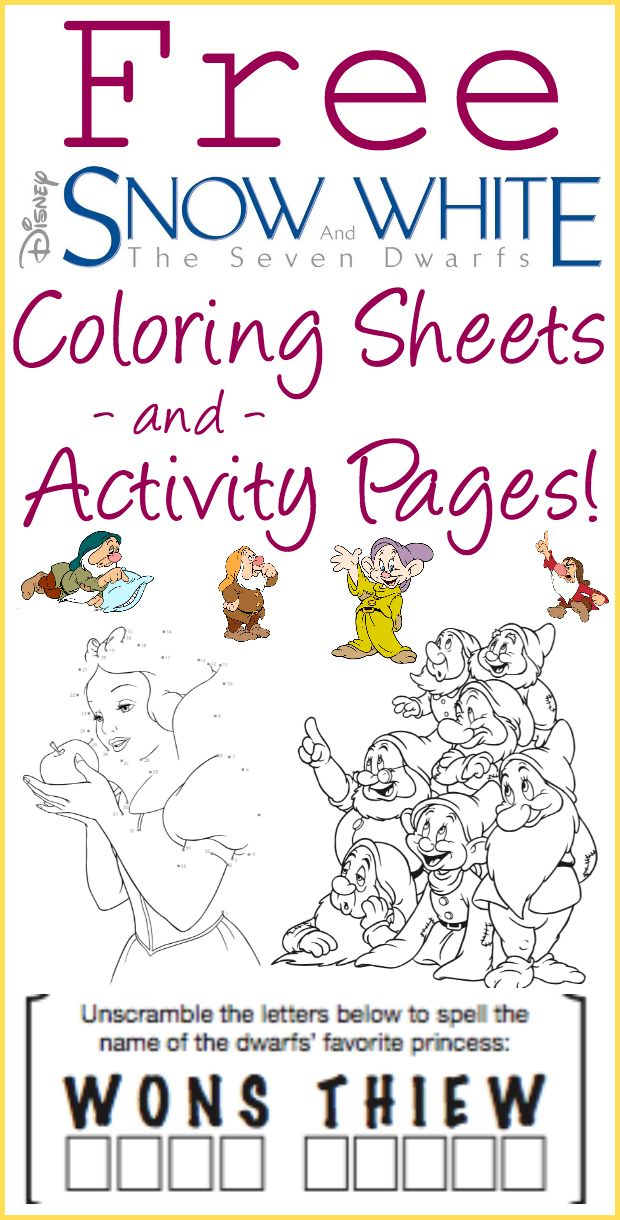 Free Printable Snow White and the Seven Dwarfs Coloring Sheets and Activity Pages! Don't you just love free Disney printables?