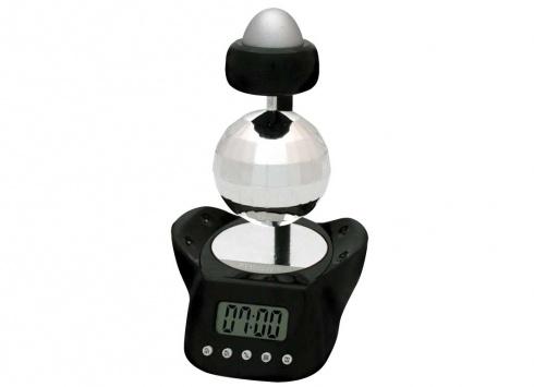 SVEGLIA DISCO BALL GLITTER NERA. Orologio sveglia digitale a forma di palla da discoteca glitterata, suona con musica da discoteca e la palla ruota su se stessa