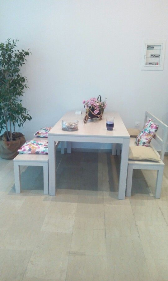 Modern country style dining table with benches