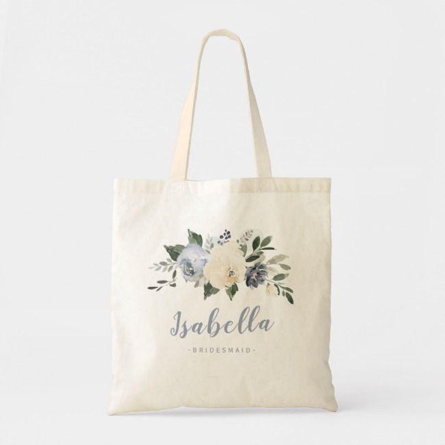 Bachelorette Bridesmaid Favor Custom Floral Wreath Tote Bag