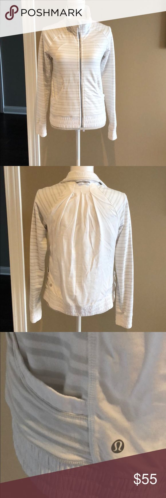 Lululemon white and gray striped zip up jacket Lululemon white and gray striped zip up jacket Like new condition  Size 6 although missing tag inside  2 pockets and loose and light backside. lululemon athletica Jackets & Coats