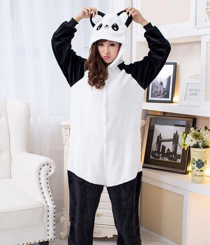 Women Flannel Slim Cute Animal Nightwear One Piece Pajamas Cosplay Cow Costumes