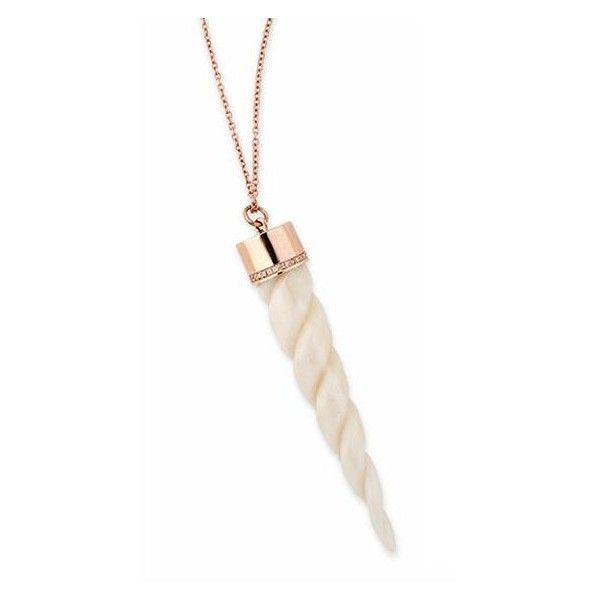 PAVE TWISTED UNICORN HORN NECKLACE (€3.835) ❤ liked on Polyvore featuring jewelry, necklaces, twist jewelry, horn necklace, twisted necklace, rose gold necklace and rose gold jewelry