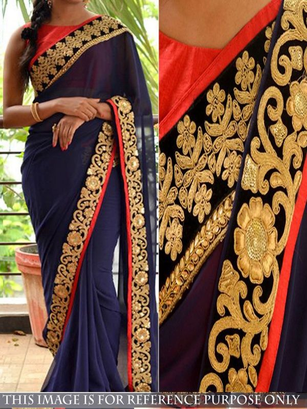 Groovy Blue Georgette Designer Saree comes with Red Color Banglori Silk Blouse. It contained the Thread fancy work with lace border. The Blouse can be customized up to bust size 44