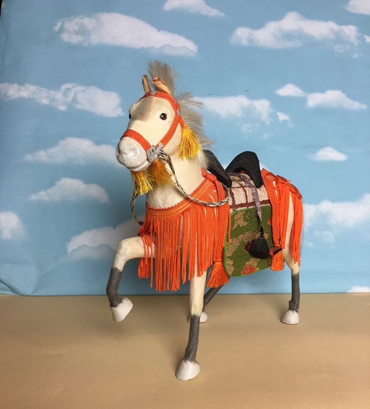 FREE SHIPPING - Antique White Papier Mache Horse  Japanese Samurai Warrior - Boy's Day Festival Horse - Tango No Sekku by Anaforia on Etsy
