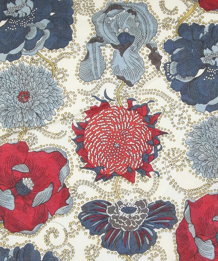 Liberty print fabric in red and navy.