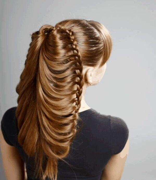 two lace braids in ponytail