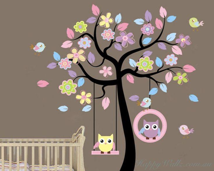 Owl Swing on the Flower Tree - Children Vinyl Decal